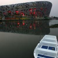 "The Beijing National Stadium known as the ""Bird's Nest"", Beijing, China, 2008. Architects: Herzog & de Meuron."