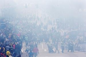 Βοστόνη -15 Απριλίου Η εικόνα μετά τις δύο εκρήξεις που έγιναν λίγο πριν την γραμμή τερματισμού στον 117 ο Μαραθώνιο.