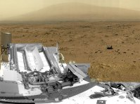 A full-circle view released by NASA on June 20, 2013, combined nearly 900 images taken by NASA's Curiosity Mars rover, generating a panorama with 1.3 billion pixels in the full-resolution version. The view is centered toward the south, with north at both ends. It shows NASA's Mars rover Curiosity at the 'Rocknest' site where the rover scooped up samples of windblown dust and sand.