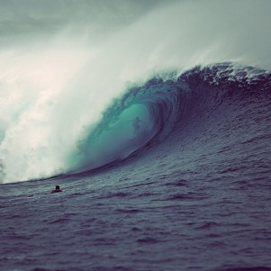 Ramon Navarro from Chile goes deep into the barrel at Cloudbreak, Fiji.