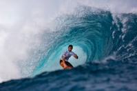 Damien Hobgood, one of the world's top surfers, competing at the Volcom Pro Contest, Fiji.
