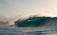 An inside set wave breaking at Pipeline, Oahu, Hawaii.