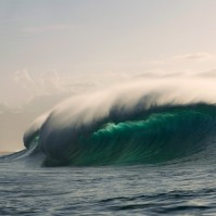 An inside set wave breaking at Pipeline, Oahu, Hawaii.