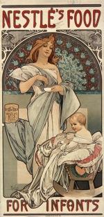 Nestlé's food for infants, Paris, 1897. Artist: Alphonse Mucha.