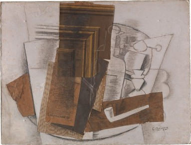 Bottle, Glass, and Pipe (Violette de Parme) Georges Braque Date: Paris, early 1914 Medium: Cut-and-pasted newspaper, painted paper and wallpaper, charcoal, graphite, and gouache on paperboard