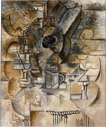 Pedestal Table, Glasses, Cups, Mandolin Pablo Picasso Date: Paris, spring 1911 Medium: Oil on canvas