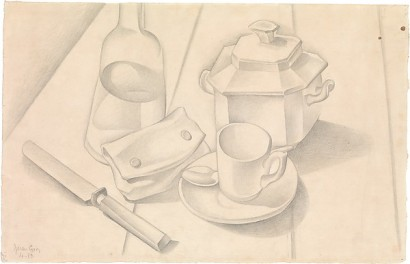 Still Life (The Tobacco Pouch) Juan Gris Date: Beaulieu (present-day Beaulieu-les-Loches), 1918 Medium: Graphite on off-white laid paper