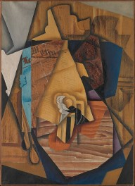 The Man at the Café Juan Gris Date: Paris, 1914 Medium: Oil and newsprint collage on canvas