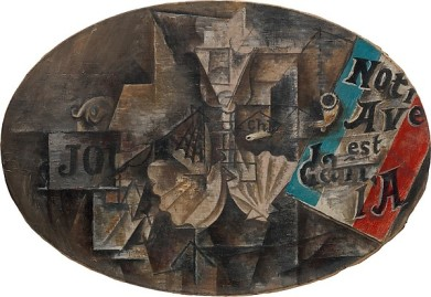"The Scallop Shell: ""Notre Avenir est dans l'Air"" Pablo Picasso Date: Paris, spring 1912 Medium: Enamel and oil on canvas"