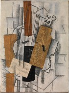 "Violin and Sheet Music: ""Petit Oiseau"" Georges Braque Date: Paris, early 1913 Medium: Oil and charcoal on canvas"